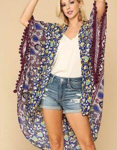New-Gigio-By-Umgee-Kimono-L-Large-Floral-Mixed-Print-Tassel-Trim-Boho-Peasant