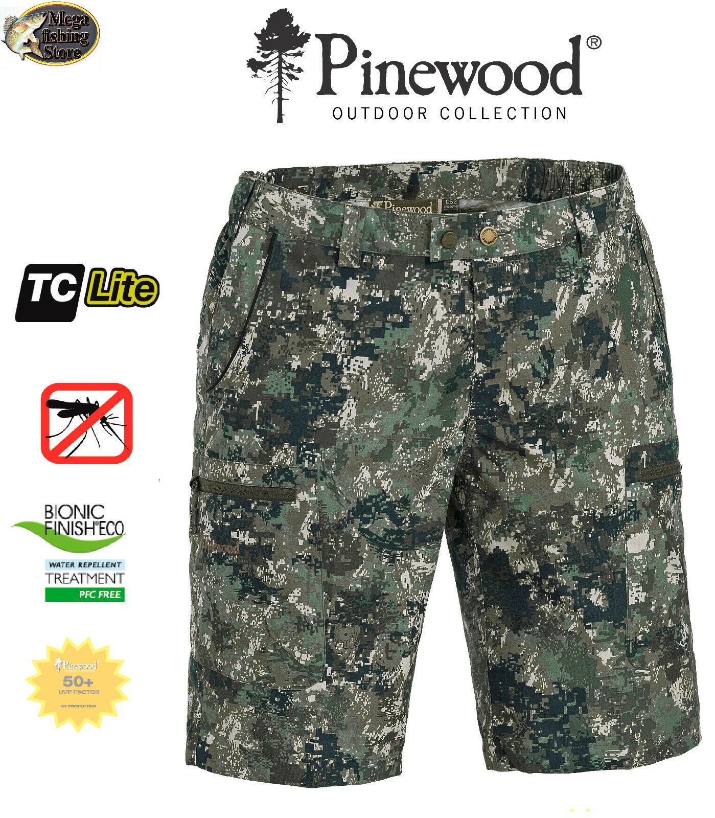 Pinewood Outdoor 5286 Caribou Camou TC Shorts Outdoor Pinewood Angelshorts Angel Optima 2 8700db