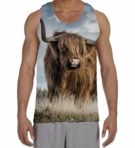 Animals Cute Highland Cattle Standing in Field Men/'s All Over Vest Tank Top