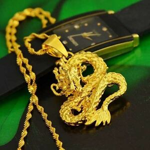 Golden-Dragon-Pendant-Necklace-Chain-Women-Men-24K-Yellow-Gold-Filled-Jewelry