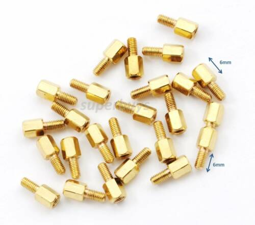 25pc 6mm M3 Male Female Brass Hex Standoff Spacer Screw Separator Stand Off PCB