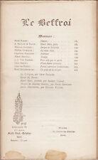 REVUE LE BEFFROI 94 AOÜT-SEPT-OCT 1911 MARAN GAUCHEZ ADRIANNE SERIEYS SIMON...