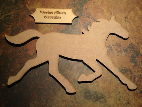 1x Large MDF Wooden Galloping Horse Shape 180 x270mm Craft h