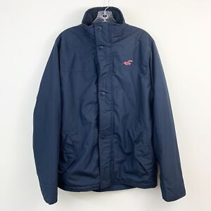 Hollister-Mens-All-Weather-Navy-Blue-Lined-Zip-Front-Coat-Size-Medium