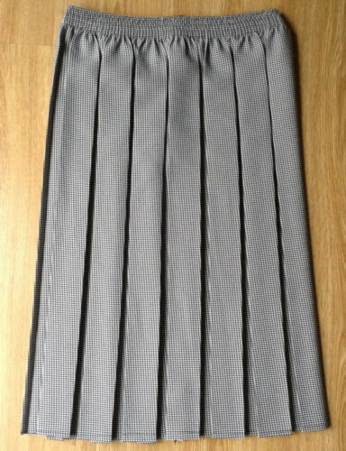 NEW LADIES BOX PLEAT BLACK WHITE FINE HOUNDSTOOTH CHECK ELASTICATED SKIRT