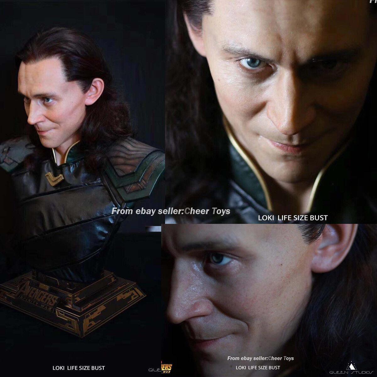 2018 SHCC Queen Studios Qs 11 Marvel Los Vengadores Loki Busto Modelo De Juguetes