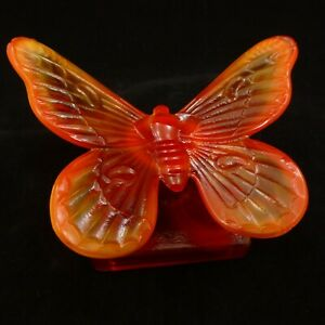 RARE-NOS-WESTMORELAND-Red-Slag-Glass-BUTTERFLY-on-Amberina-Branch-Base-SUMMIT