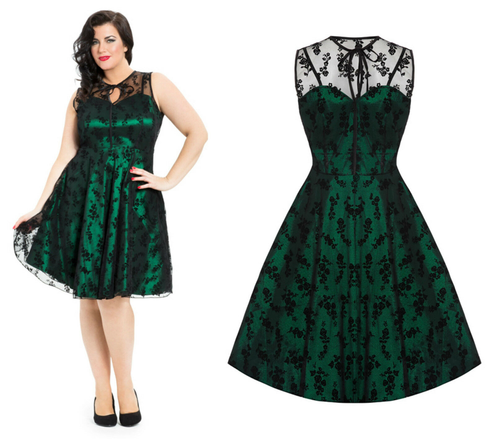 f53ebfd1a94 Emerald Green Lace Voodoo Vixen 1950 s Rockabilly Vintage Party Plus Size  Dress