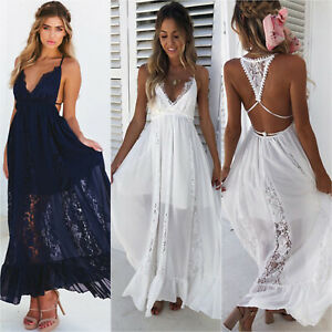 1197f8ed1b4 Image is loading Womens-Chiffon-Lace-Long-Maxi-Dresses-Backless-Cocktail-
