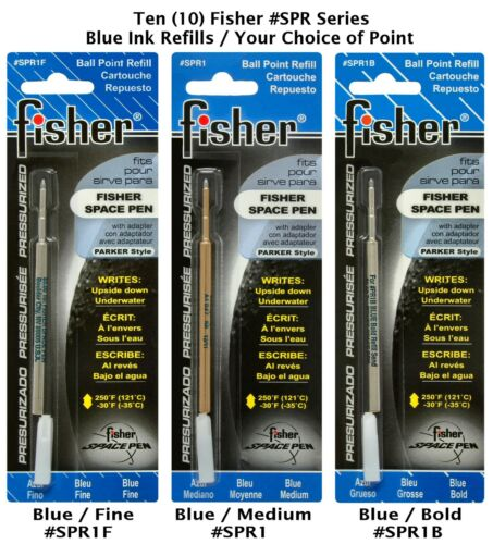 Ten 10 Fisher Space Pen SPR Series Blue Ink Refills Your Choice of Point