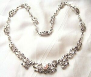 VINTAGE-1950s-Exceptional-REAL-MARCASITE-SET-FAUX-PEARL-PANELED-NECKLACE