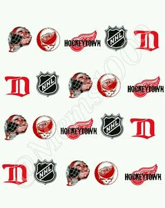 Nhl detroit red wings nail art water decals free shipping hockey image is loading nhl detroit red wings nail art water decals prinsesfo Choice Image
