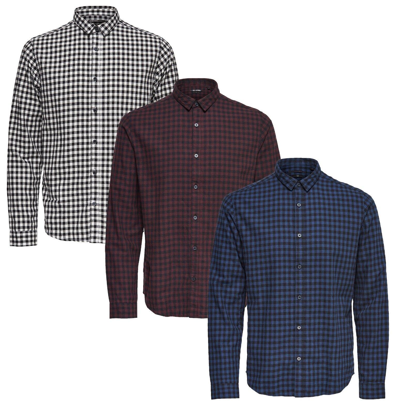 Sons Gordey T-Shirt Manica Lunga Aderente, da Uomo Quadretti Casual Alla Moda