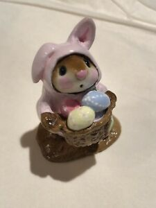 Retired-Wee-Forest-Folk-EASTER-BUNNY-MOUSE-Pink-M-82-WFF-No-Box-EUC