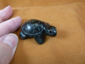 Y-TUR-LA-504 Black Onyx TURTLE tortoise carving FIGURINE gemstone BABY turtles