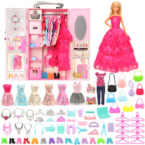 Barwa-Fashion-New-Pink-Wardrobe-with-69-accessories-For-Barbie-Doll-Girl-Gifts