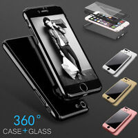 Hybrid 360° Hard Ultra thin Case+Tempered Glass Cover For iPhone 6 6S 7 Plus