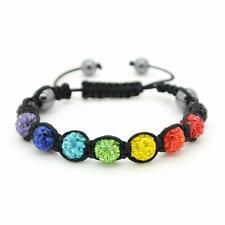 CHAKRA SHAMBALLA BEAD BRACELET 10mm Adjustable Rainbow Sparkling Crystal Yoga