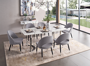 Details about ESF 131 Modern Silver Finish Marble Top Dining Room Set,  total of 5 pieces
