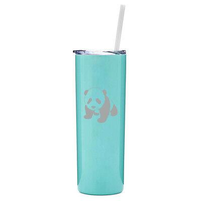 20 oz Skinny Tumbler Stainless Insulated Travel Mug w// Straw Baby Panda