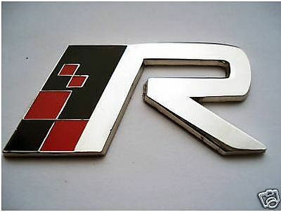 Red Black Chrome Enamel VOLVO R Metal Car Badge T5 XC90 V70