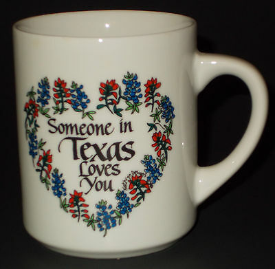 Someone In Texas Loves You Coffee Mug Tea Cup Floral Heart