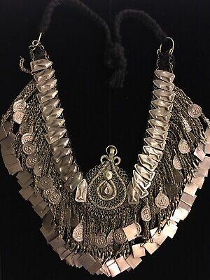 Vintage Kuchi Tribal-Choker with Red Orange and Green Glass Jewels Tribal Fusion Jewelry Handmade Nomad Kuchi-Choker