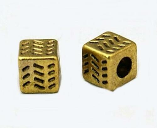 4.5mm 50 x Antique Gold Cube Spacer Beads Cubes NF LF CF