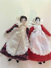 """Antique Porcelain Cloth Sawdust Dolls Pair Of 2 Germany.7.5"""""""