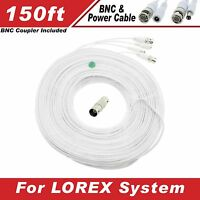 White Premium 200ft High Quality Thick Bnc Extension Cables For Lorex Systems