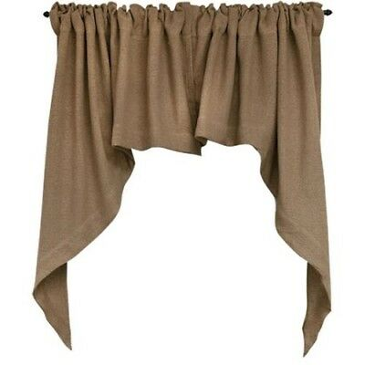 Burlap Swag country farmhouse tan brown curtains windows kitchen bathroom  family | eBay