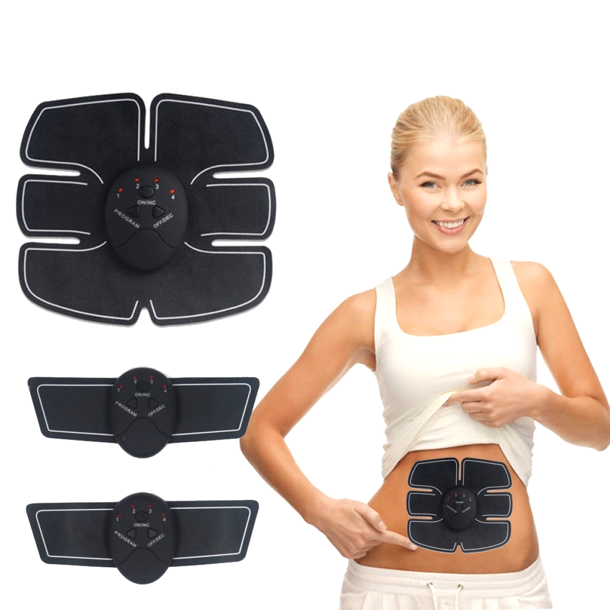 EMS Abs Toning Belt Muscle Toner Trainer Wireless Body Gym Workout Home Fitness