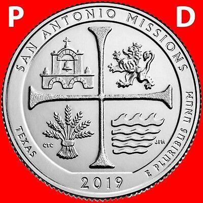 """2019 SAN ANTONIO MISSIONS TX  /""""ATB/"""" NATIONAL PARK QUARTER P+D 2-COIN SET UNCIRC"""