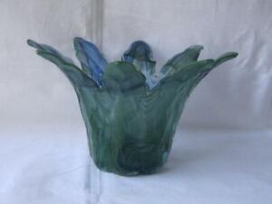 Genuine-Italian-Art-Glass-Bowl-Green-Blue-Tammaro-Made-in-Italy-Murano-No-666