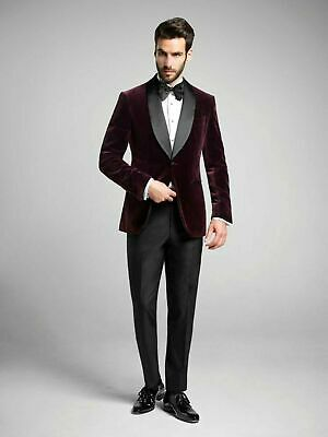 Mens Kingsman Style Velvet Burgundy Tuxedo Jacket Fashion  Elegant Grooms Wedding Evening Cocktail Party Host Party Blazer Easter Coat