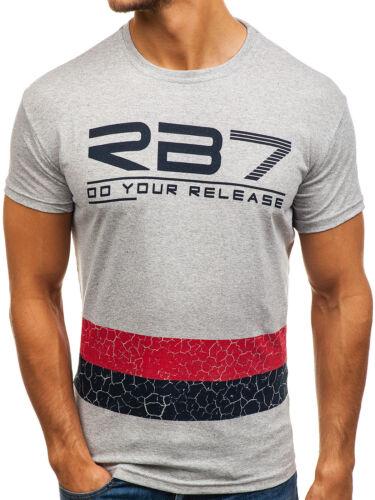 T-Shirt Hommes Manches Courtes Col Rond Imprimé Classic Slim Fit Print BOLF 3c3 Motif