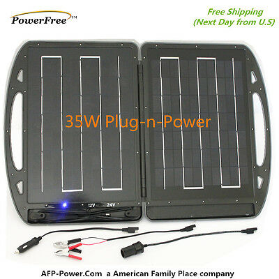 Portable Plug-n-Power 35W 35 Watt 12V Foldable Solar Charger Briefcase