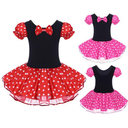 Kinder Mädchen Minnie Maus Kostüm Kleid Tutu Gepunktet Partykleider Festkleider