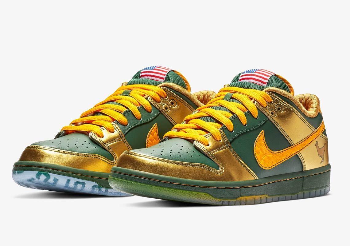 Nike MEN'S SB Dunk Low Pro DB DOERNBECHER SIZE 10.5 BRAND NEW GREEN gold