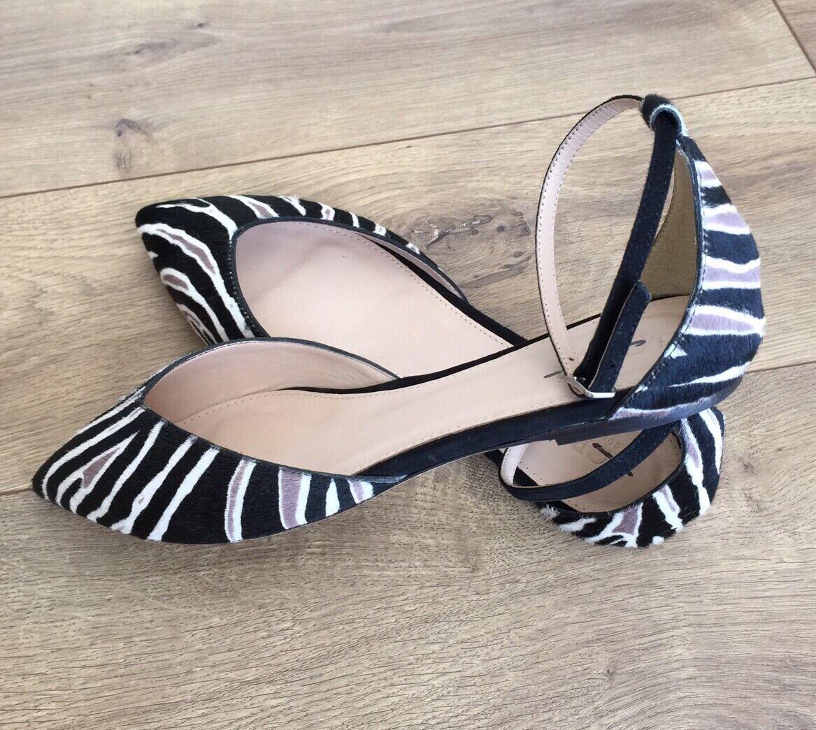 spedizione gratuita in tutto il mondo JCREW COLLECTION Sadie Ankle Strap Flats In Zebra Calf Hair Hair Hair F7988 SZ 7  scelte con prezzo basso