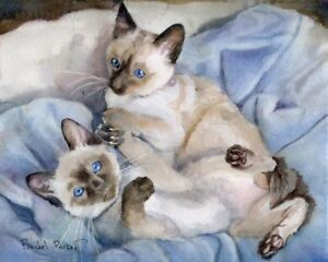 Giclee Print Siamese Kitten Cat Watercolor Art Painting Chocolate Seal Point Ebay