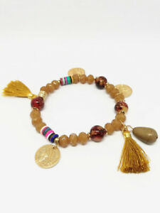 Bracelet-Bijoux-femme-Fantaisie-Marron-Pompon-Perle-Medaillon-NEUF-ref-5