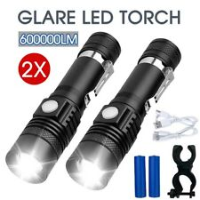 2X 60000lm CREE T6 XM-L Flashlight LED Torch Bike Mount USB Rechargeable AU
