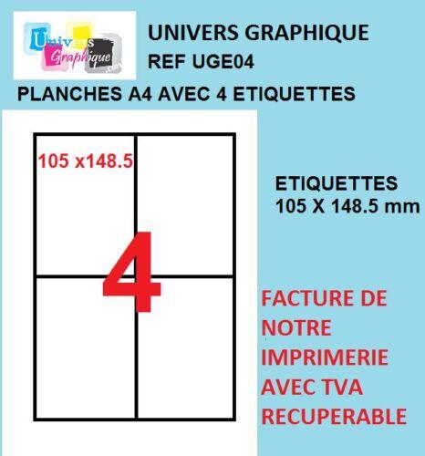 Étiquettes autocollantes blanches A6 105 x 148.5 mm 4 etiquettes par planche A4