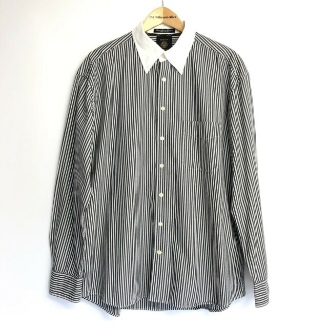 "Gant Long Beach Poplin Regular Fit Blue White Stripe Shirt XL 46"" Long Sleeved"