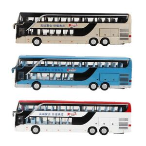 1:50 Scale Double-decker Bus Model Toy with LED Light Music Kids Toy Gift