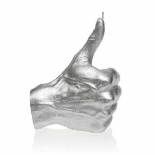 Hand OK Thumbs Up Candle Candellana Silver 30 Hr Burn Time