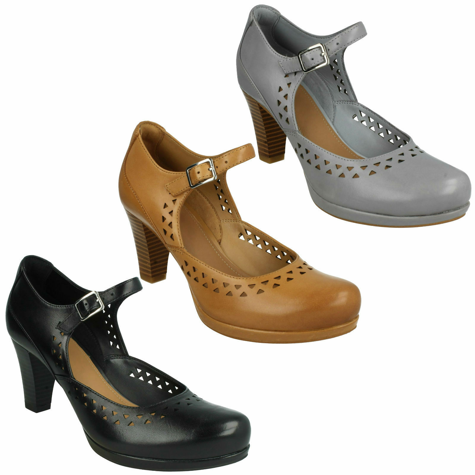 CHORUS CHIME LADIES CLARKS LEATHER BLOCK HEEL BUCKLE MARY JANE SMART COURT Schuhe
