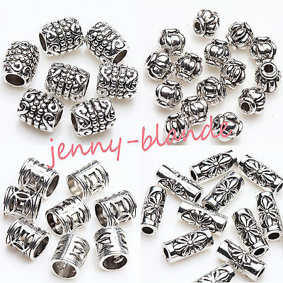 50/100pcs Tibetan Silver Carving Tube Loose Spacer Bead Charm Jewelry Finding