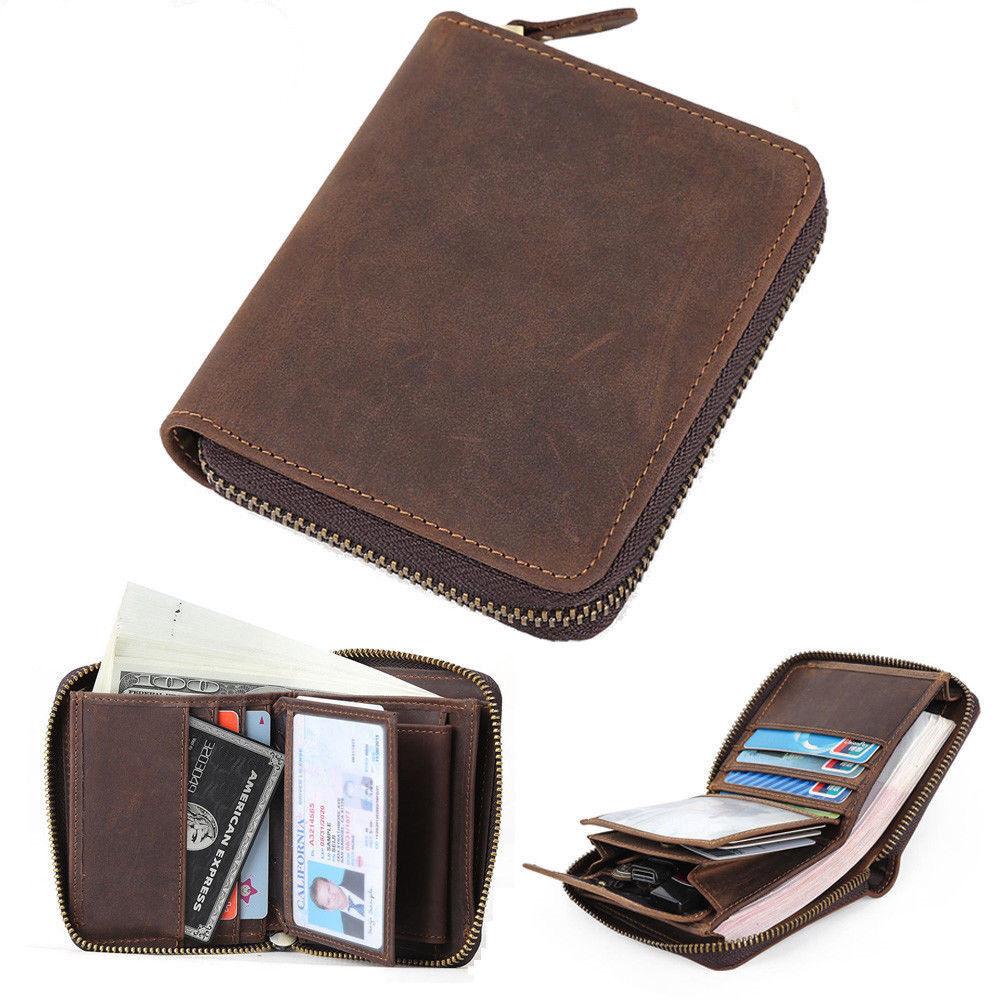 Herren Jahrgang Leder Bifold Brieftasche Geldbörse Kreditkarteninhaber Fotofach